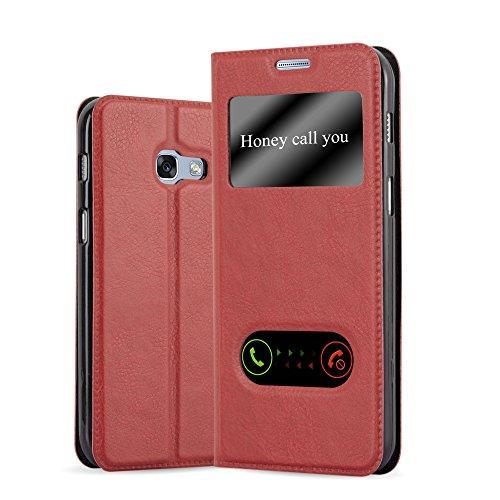 Cadorabo Custodia Libro per Samsung Galaxy A5 2017 in Rosso Zafferano - con Funzione Stand e Chiusura Magnetica - Portafoglio Cover Case Wallet Book Etui Protezione
