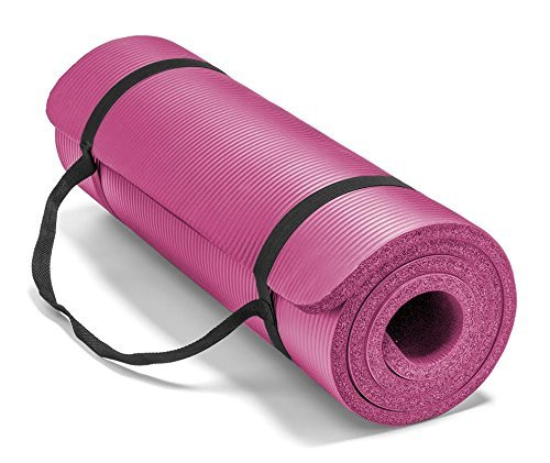 Spoga, Premium Extra Thick High Density Yoga Mat, with Comfort Foam and Carrying Straps, Pink
