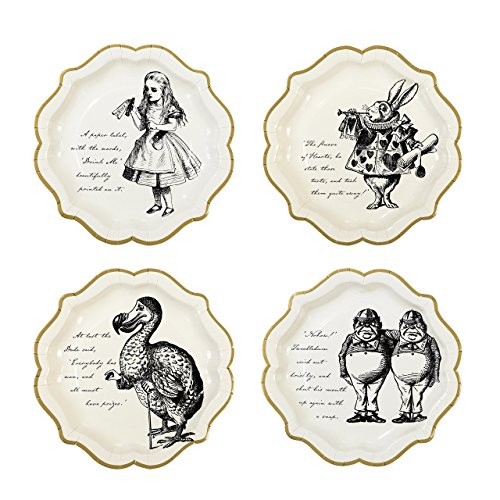 Talking tafels Echt Alice Plate met Gold Trim, Medium, 9-Inch, Papier/Karton, Multi-Colour, 3 x 21 x 21.5 cm