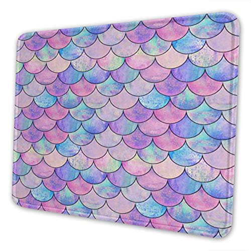 Colorful Blue Pink Mermaid Scales Design Gaming Mouse Pad Mat Mousepad Desk Pad Non-Slip Rubber Gaming Mousepad Rectangle Mouse Pads for Computers Laptop Rubber Mice Pads Stitched Edges 11.8 X 9.8inch