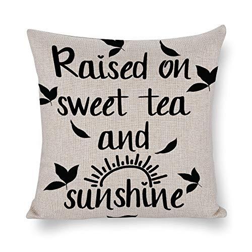 Federa quadrata in cotone e lino, per cuscini, decorazione per la casa, per divano o letto, sedia rialzata su tè dolce e nero
