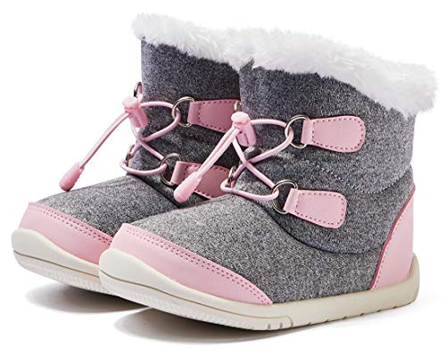 BMCiTYBM Baby Snow Boots Boys Girls Winter Infant Shoes Anti-Slip 6 9 12 18 24 Months Faux Fur Pink Size 18-24 Months Toddler