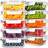pyrex bake and prep set - Prep Naturals Glass Food Storage Containers with Lids [24 Ounce, 20Pcs] Glass Containers for Food Storage with Lids Glass Meal Prep Containers Glass Storage Containers with Lids Glass Lunch Containers