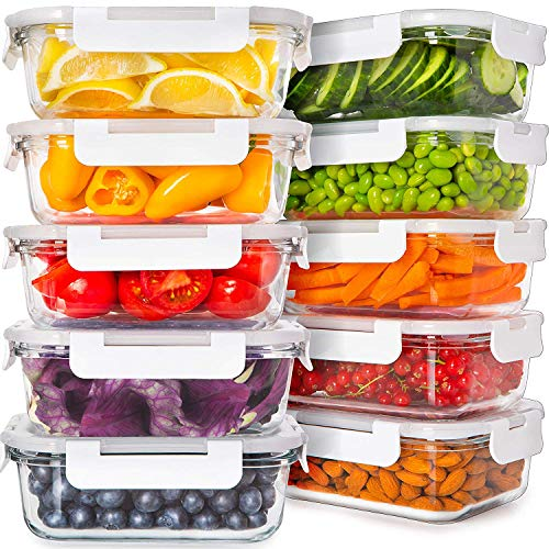 Prep Naturals Glass Food Storage Containers with Lids 24 Ounce 20Pcs Glass Containers for Food Storage with Lids Glass Meal Prep Containers Glass Storage Containers with Lids Glass Lunch Containers