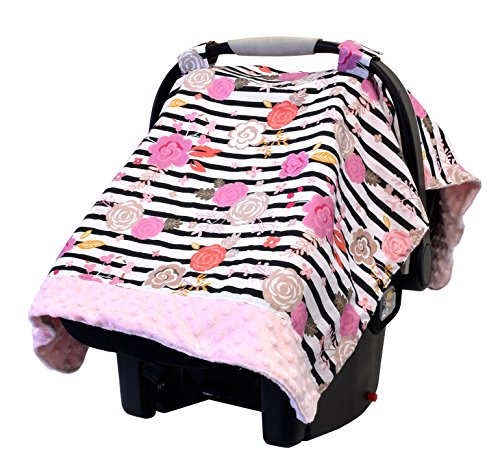 Itzy Ritzy Car Seat Canopy – Infant Car Seat Cover Fits All Car Seats, Includes Toy Loops and Can Unfold Into a Soft Minky Tummy Time Mat, Floral Stripe