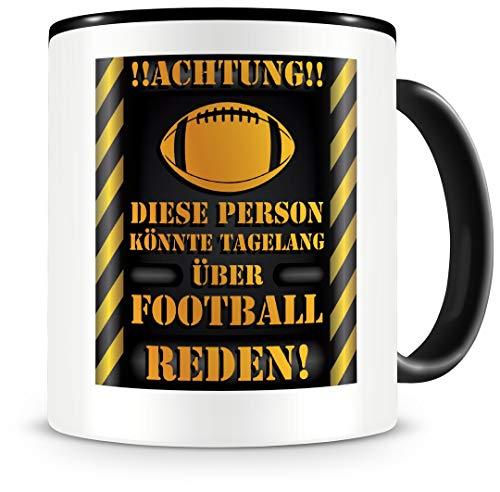 Samunshi® Football Tasse mit Spruch Geschenk für Football Fans Männer Kaffeetasse groß Lustige Tassen zum Geburtstag schwarz 300ml