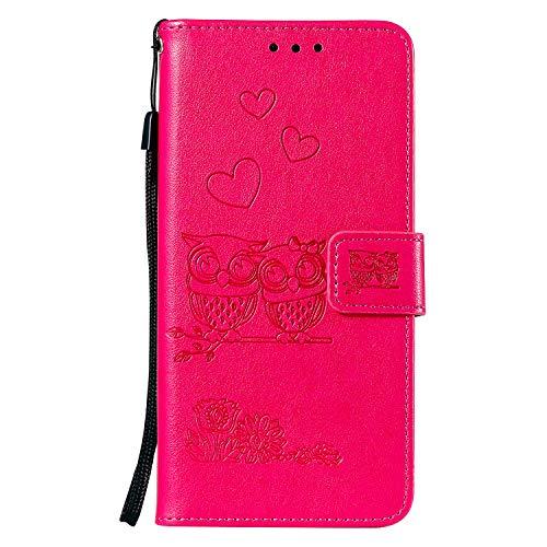 Karomenic kompatibel mit Samsung Galaxy S5 PU Leder Hülle Eule Prägung Handyhülle Brieftasche Silikon Schutzhülle Klapphülle Ledertasche Ständer Wallet Flip Case Bumper Schale Etui,Rose rot