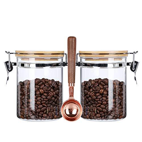 KKC ガラス密閉保存瓶 コーヒー豆保存容器 珈琲豆保存容器 密閉容器 キャニスター コーヒー豆保存瓶 砂糖 紅茶収納 円筒形密封びん (800ML 2個,スプーン搭載)