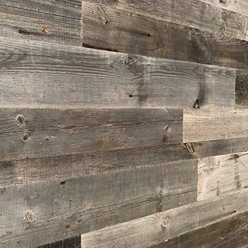 Holz Wandverkleidung mit 3d Paneelen aus verwittertem und recyceltem alten Holz von Nordje® … (Grau)