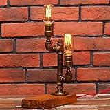 Jkckha nordic Escritorio de la vendimia lámparas con regulador de intensidad de Steampunk Industrial Estilo Base de madera con Pipas de agua lámpara de mesa principal doble E27 Edison metal Tabla luce