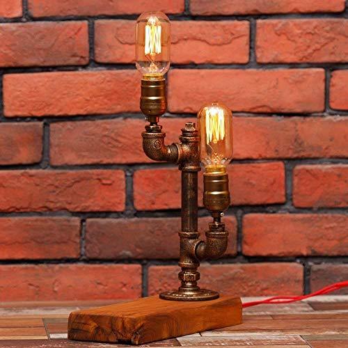 Busirsiz Escritorio de la vendimia lámparas con regulador de intensidad de Steampunk Industrial Estilo Base de madera con Pipas de agua lámpara de mesa principal doble E27 Edison metal Tabla luces rús