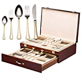Italian Collection 'Damascus' 75-Pc Premium Silverware Flatware Serving Set, Dining Cutlery Service for 12, 24K Gold Plated 18/10 Stainless Steel Hostess Serving Set in a Chest