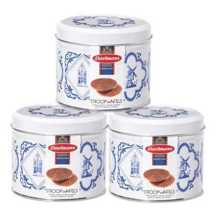 3 barattoli con motivo Delft Blue di stroopwafels Daelmans