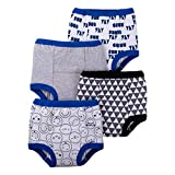 Lamaze Organic Baby Boys Reusable and Washable Toddler Potty Training Pants, Cotton Cloth, 4 Pack, Blue/White/Grey, 2T