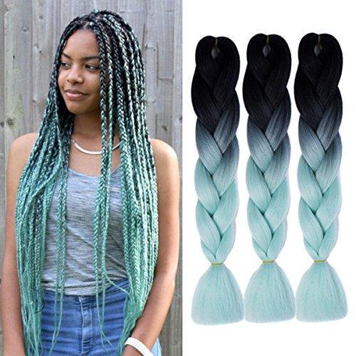 Jumbo Braids Coloré Synthétique Kanekalon Extensions de Cheveux pour DIY Crochet Box Tressage Ombre 100g/pc 2Tone Noir-Bleu clair 3pcs/Lot 61cm(24 pouces)