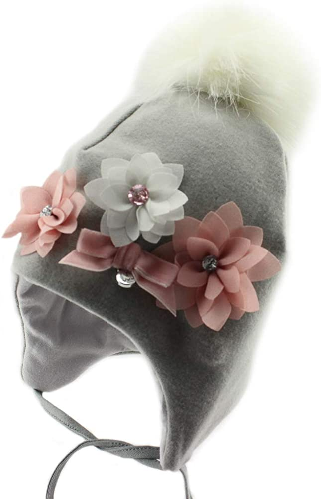 Marika Girls Warm Winter Pom Pom Ear Flap Beanie Hat (MZ-2142 Soft Flowers)