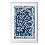 トルコ語タイル木の生命水彩絵画インテリア版画伝統的なオスマン帝国花壁アートパネル写真モダン家壁装飾帆布ポスター50x70cmいいえフレーム