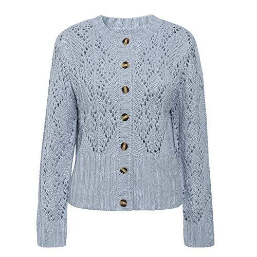 Suéter de Rebeca de Punto crohect Ahuecado Mujeres suéter de Dama de Invierno Jersey de Manga Larga de Cintura Alta para Mujer