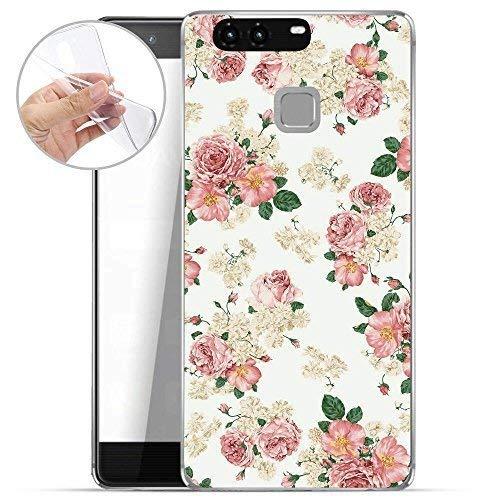 Finoo TPU Handyhülle für Dein Huawei P9 Plus Made In Germany Hülle mit Motiv & Optimalen Schutz Silikon Tasche Case Cover Schutzhülle für Dein Huawei P9 Plus - Rosen