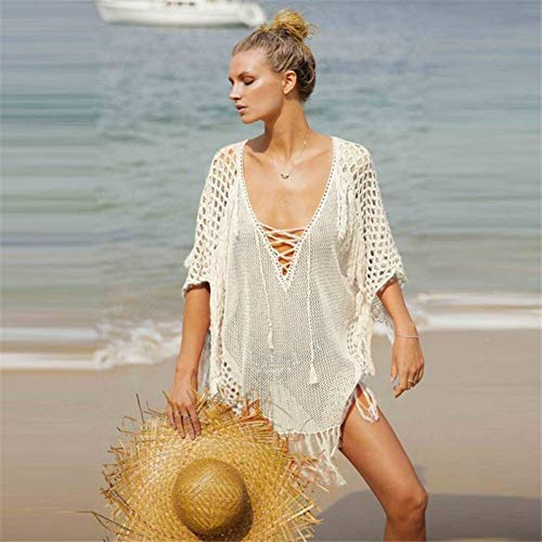 ISKER Badpak gebreide holle badkleding vrouwen bikini blouse solide V vertussen kwast bandage strandjurk vrouwelijke zomer beachwear tuniek