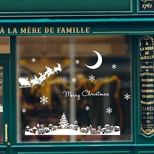 WYLYSD Adesivi murali Bambini Adesivo murale di Babbo Natale al Chiaro di Luna Città per Finestra in Vetro Vetrina Festival Decorazione della casa Decalcomanie murali Carta da Parati Adesivi Anno