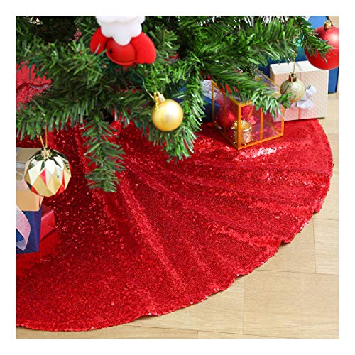 SoarDream Sequin Christmas Tree Skirt 24 inches Red Tree Skirt for Christmas Decorations
