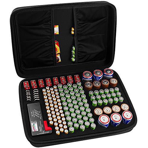 COMECASE Batterie Aufbewahrungsbox Tragetasche Batteriebox - Hält 142 Batterien AA AAA C D 9V - Passend für Tacklife MBT01 Batterietester Akkutester Batterieprüfergerät