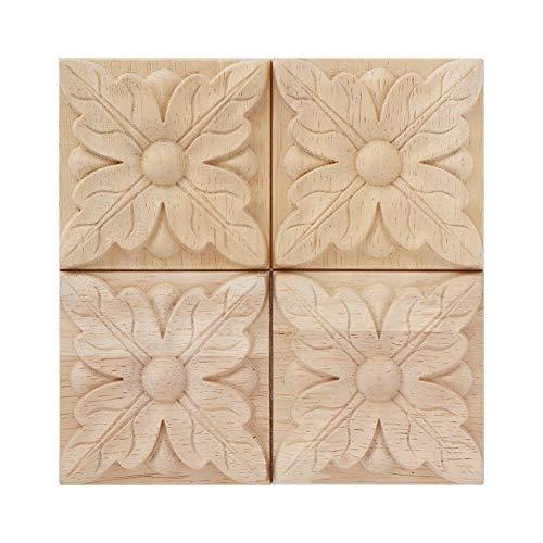 Aplique tallado de madera tallado sin pintar a cuadros calcomanía para muebles de la puerta del gabinete decoración 4pcs (1#)