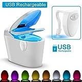 WANGIRL USB Wiederaufladbare Toilettenlicht PIR Bewegungsmelder 8 Farben Hintergrundbeleuchtung für Toilettenschüssel Smart Nachtlicht für Badezimmer,2packs