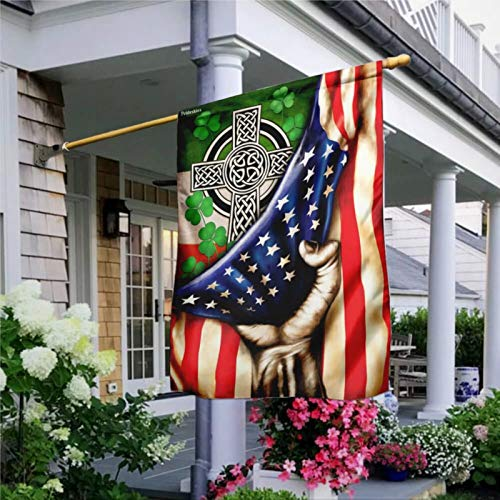 Garden Flag Irish Celtic Cross Flag, Rustic House Peace Flag Yard Decor House Decor Flag Seasonal Banners for Patio Lawn Outdoor 28x40'