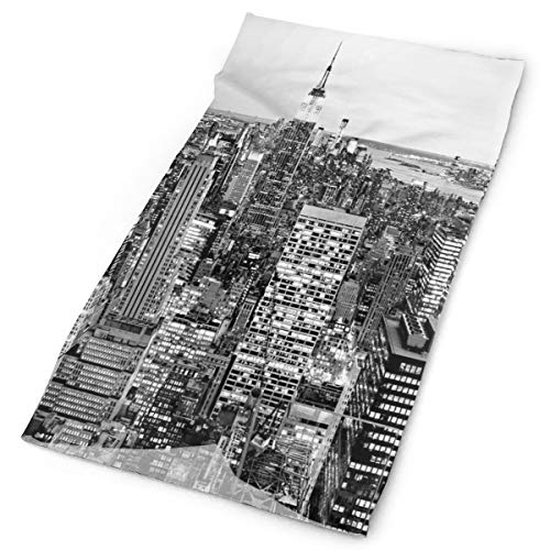 GUUi Headwear Headband Head Scarf Wrap Sweatband,Panorama of Manhattan High Buildings of City Famous Monument USA Black and White Photo,Sport Headscarves for Men Women