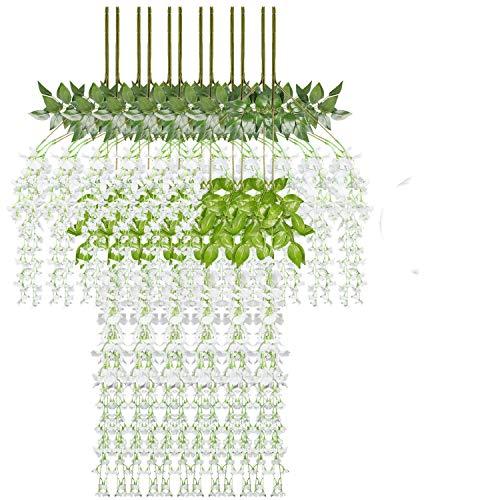 KATELUO Efeu Künstlich,Kunstblumen, Kunstpflanze Balkon Dekoration Grün Gefälschte Plastik für Garten, Party Wanddekoration, schaukel Gestell Dekoration,girlanden insgesamt. (Flower-12pcs)
