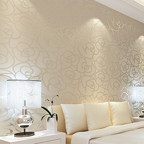 Europäische romantische pastorale Vlies Tapete/Schlafzimmer Wohnzimmer Hintergrundbild/blaue Teppichboden rosa Rosen Wallpaper-A