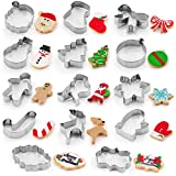 Zulay (14-Pieces) Metal Christmas Cookie Cutters - Stainless Steel Christmas Cookie Cutters With Folded Edges - Durable Non-Stick Holiday Cookie Cutters With Assorted Designs For Dough & Biscuits