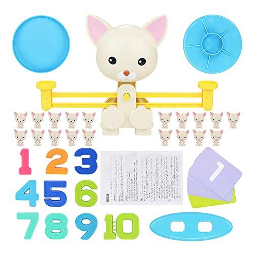 AGLKH Kids Lernspielzeug zum Erlernen von Addieren und Subtrahieren von Mathe-Match-Brettspielzeugen Monkey Cat Match Balancing ScaleBalance-Spiel, Hund