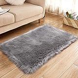 XUDAKJ Tapis en fausse fourrure doux et moelleux, tapis à poils longs imitation peau de mouton pour salon, chambre, chambre d'enfant, salle à manger (gris, 60 x 90 cm)