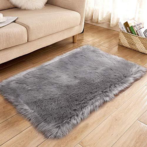 XUDAKJ Piel de Imitación, Artificial Alfombra, mullida excelente Piel sintética de Calidad Alfombra de Lana,Adecuado para salón Dormitorio Cama sofá (Gris, 50_x_150_cm)