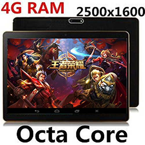Android tablet 10.1 inch 4G LTE tablet pc Octa Core 4G RAM 64G ROM Dual SIM card GPS IPS 2560X1600 tablet pcs with Bluetooth & Capacitive Touch(black)