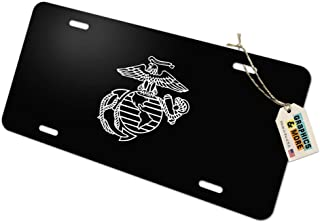 Graphics and More Marines USMC White on Black Eagle Globe Anchor Logo Officially Licensed Novelty Metal Vanity Tag License Plate