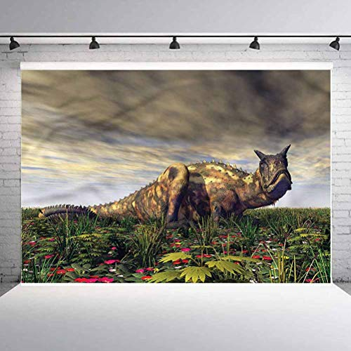 8x8FT Vinyl Backdrop Photographer,Jurassic,Carnotaurus Dark Clouds Background for Party Home Decor Outdoorsy Theme Shoot Props