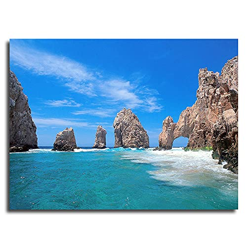 Framed Canvas The Arch Of Cabo San Lucas Posters Office Wall Art Canvas Picture Frame 12x8inch