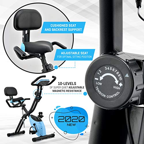 Folding Exercise Bike with 10-Level Adjustable Magnetic Resistance | Upright and Recumbent Foldable Stationary Bike is the Perfect Workout Bike for Home Use for Men, Women, and Seniors (Black/Blue)