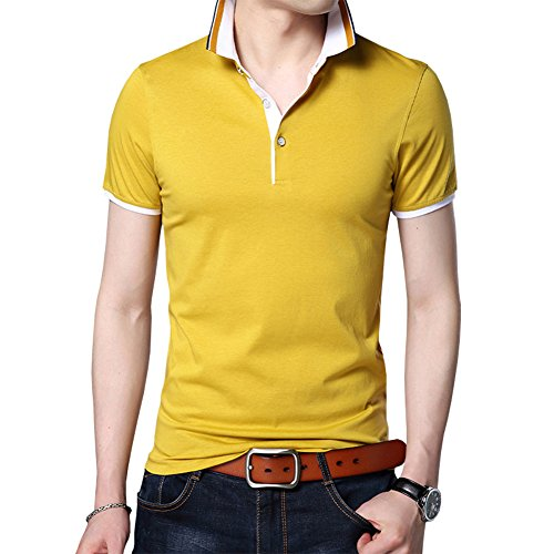 Womleys Mens Casual Slim Fit Short Sleeve Tops Button Collared Polo T Shirt (US Small, Yellow)