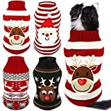 4 Pieces Christmas Dog Sweaters Dog Holiday Sweaters Puppy Snow Elk Reindeer Santa Claus Sweaters Winter Knitwear Warm Clothes Funny Party Cosplay Dress for Small to Medium Dog Puppy Cats (Medium)