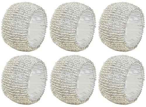 SKAVIJ Silber Glas Perlen Serviettenring-Set für Esstischdekoration Handgemacht (6 stück)