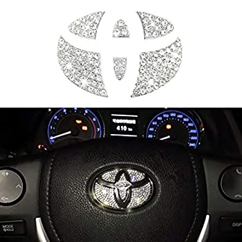 Jaronx Crystal Steering Wheel Bling Emblem Compatible with Toyota Camry Corolla RAV4 Highlander MARKX 2015-2020 Sparkly Emblem Overlay Diamond Decal Emblem Bling Accessories Compatible with Toyota