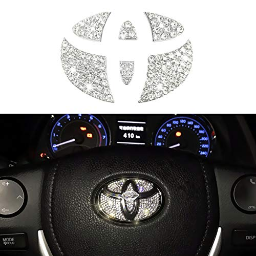 Jaronx Crystal Steering Wheel Bling Emblem Compatible with Toyota...