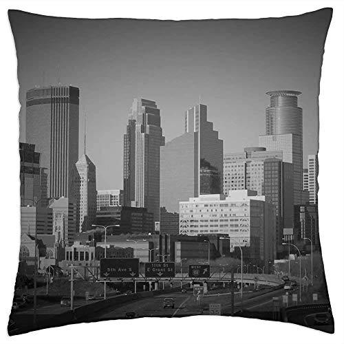 Minneapolis Minnesota - Funda de cojín, diseño de rascacielos, edificios, 45 x 45 cm
