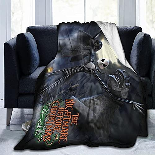 ZHENJING Night-mare manta antes de Chri-st-mas manta de forro polar ultra suave micro mantas para sofá cama, playa, camping o viaje, manta suave y cálida, tamaño mediano para adolescentes