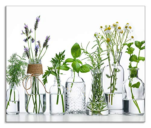 Artland Spritzschutz Küche aus Alu für Herd Spüle 60x50 cm Küchenrückwand mit Motiv Pflanzen Kräuter Gewürze Lavendel Basilikum Blumen H9KE